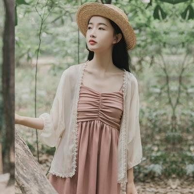 花邊點綴束口袖七分袖薄罩衫F(共二色)-Dorri