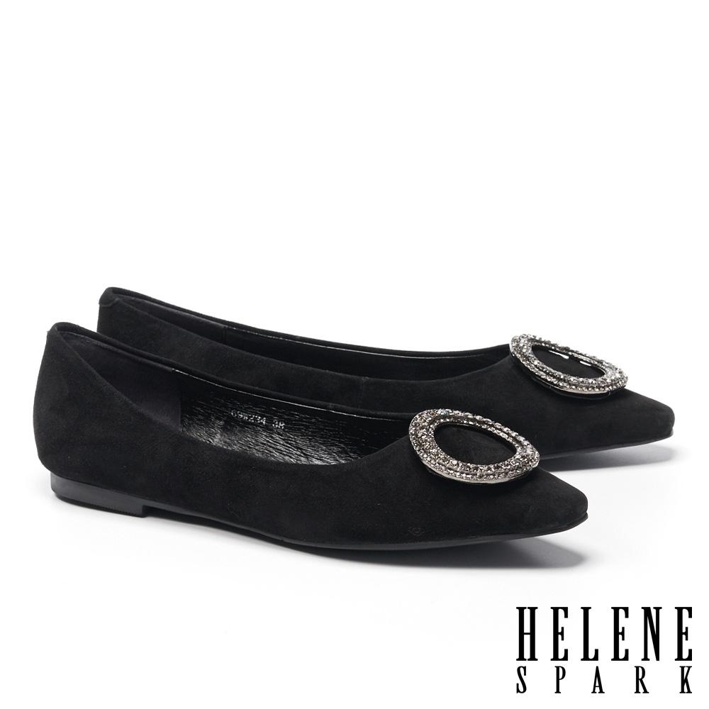 平底鞋 HELENE SPARK 高雅時尚圓型鑽飾全真皮方頭平底鞋-黑