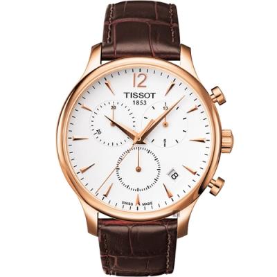 TISSOT 天梭 Tradition 復刻計時腕錶-白x玫瑰金框/42mm