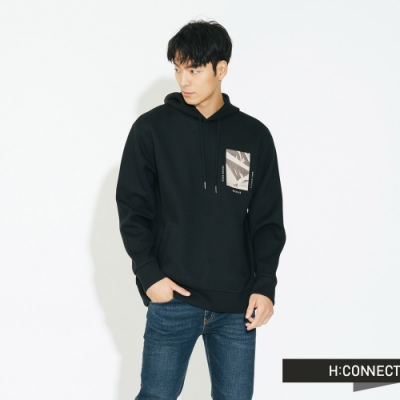 H:CONNECT 韓國品牌 男裝 - 雙口袋抽繩帽T  - 黑