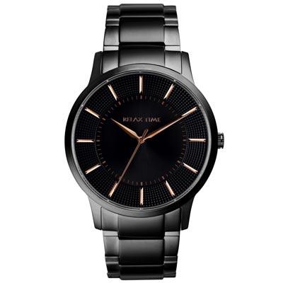 RELAX TIME入門紳士錶款 RT-76-3 黑x玫瑰金/42mm