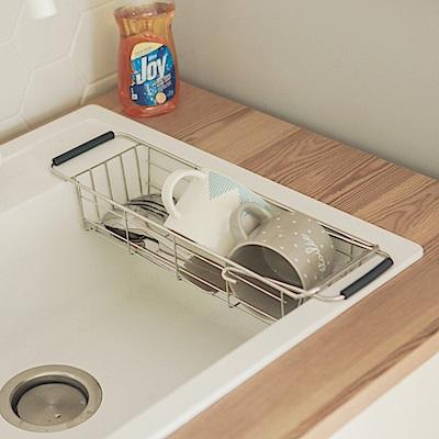 完美主義 伸縮水槽洗碗精掛籃/瀝水架/收納架/餐具架(2入組)