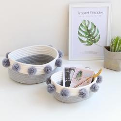【收納職人】簡約北歐ins風棉線毛球編織裝飾置物籃/收納籃_灰色(小)