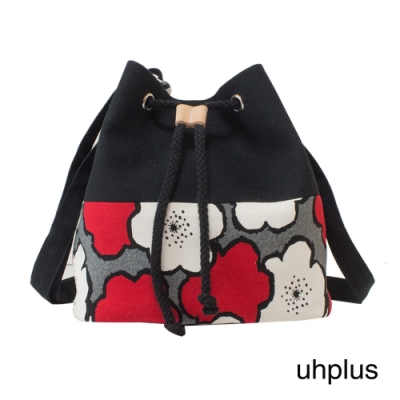 uhplus 簡約輕巧水桶包(花繪/黑紅)