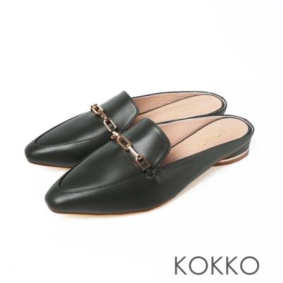 KOKKO時髦方頭羊皮素面鎖鍊穆勒鞋抹茶綠