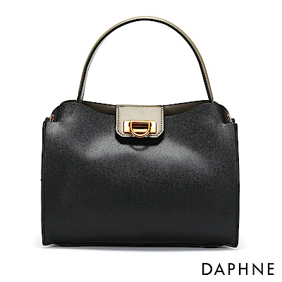 達芙妮DAPHNE-D字釦子母手提包-黑