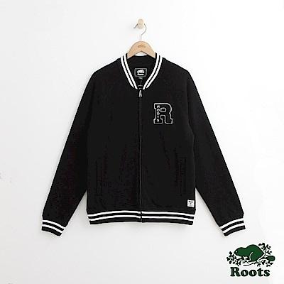 Roots 男裝-左胸字母棒球外套-黑色