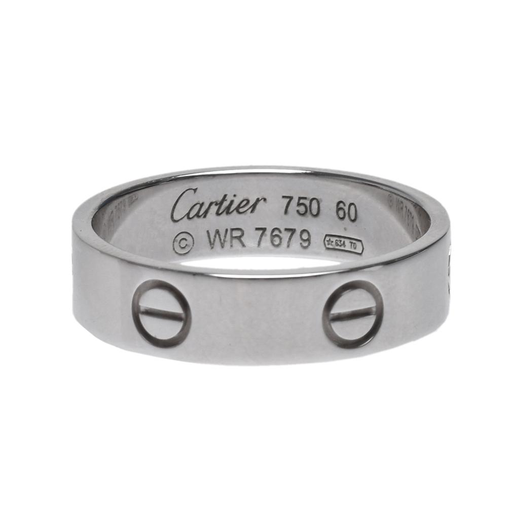 Cartier LOVE系列經典品牌標誌白K金戒指(銀)