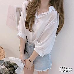 輕薄燈籠袖寬鬆五分袖襯衫 白色-mini嚴選