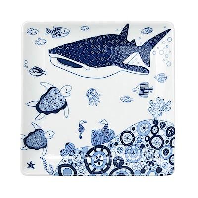 Natural69 波佐見燒 CocoMarine系列 方形淺盤 17cm 海中鯨鯊