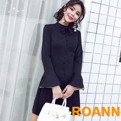 百搭圓領拼接荷葉邊長袖洋裝 (黑色)-ROANN