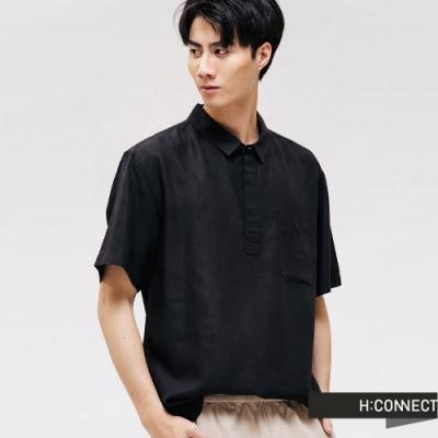 H:CONNECT 韓國品牌 男裝 - 輕盈休閒短袖襯衫 - 黑