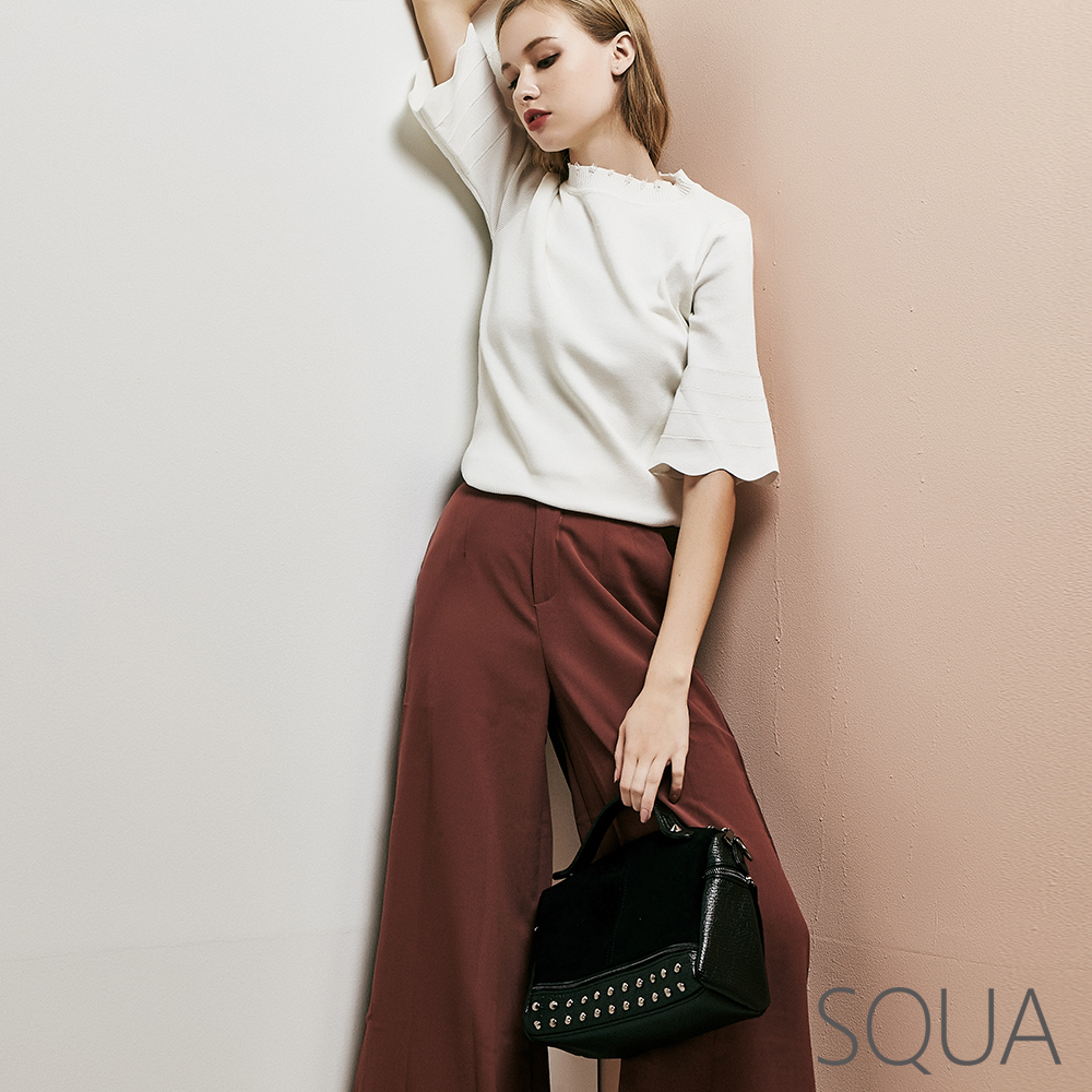 SQUA 雙釦造型素色寬褲-二色