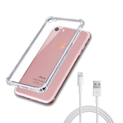 [買手機殼送充電線] iPhone 7 8 透明 四角防摔 氣囊 手機殼 防摔殼 (iPhone7手機殼 iPhone8手機殼 )
