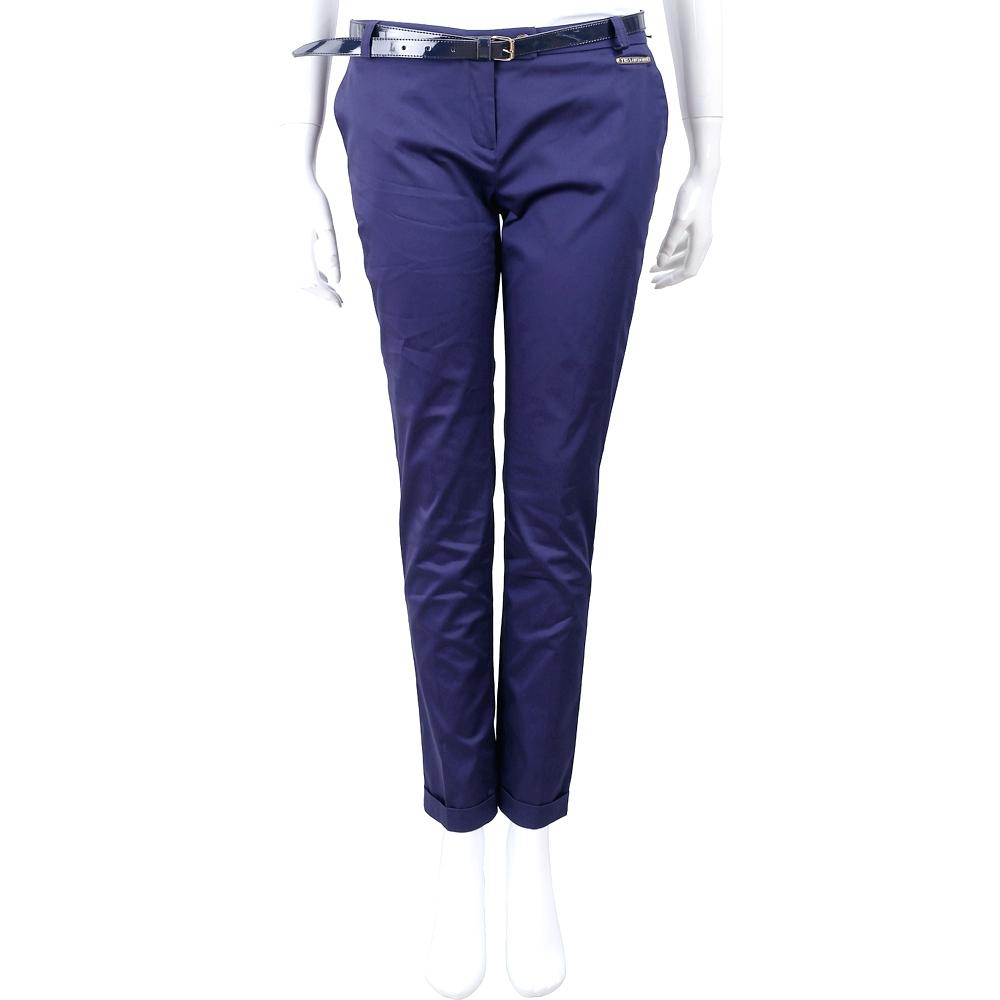 YES LONDON 反褶設計藍紫色棉質九分煙管褲(附腰帶)
