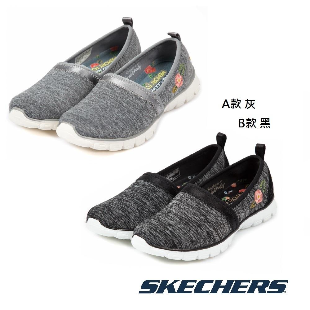 SKECHERS 女 休閒系列 刺繡花朵EZ Flex 3.0 - 黑灰