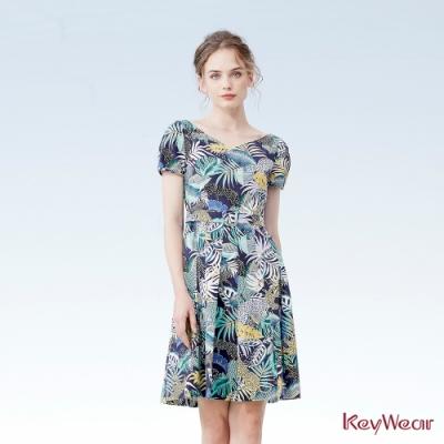 KeyWear奇威名品    夏日趣味印花洋裝-深藍色