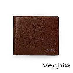 VECHIO - 經典商務男仕系列-8卡中翻零錢袋皮夾 - 褐