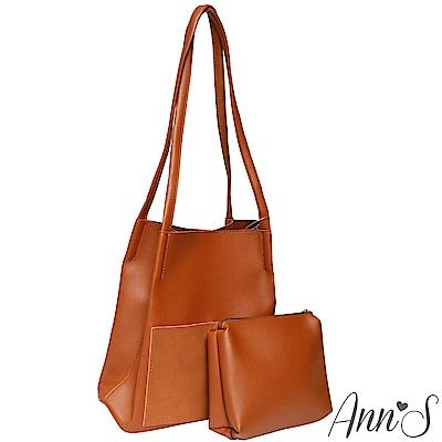 Ann'S文青女孩-素面大容量肩背水桶包-棕