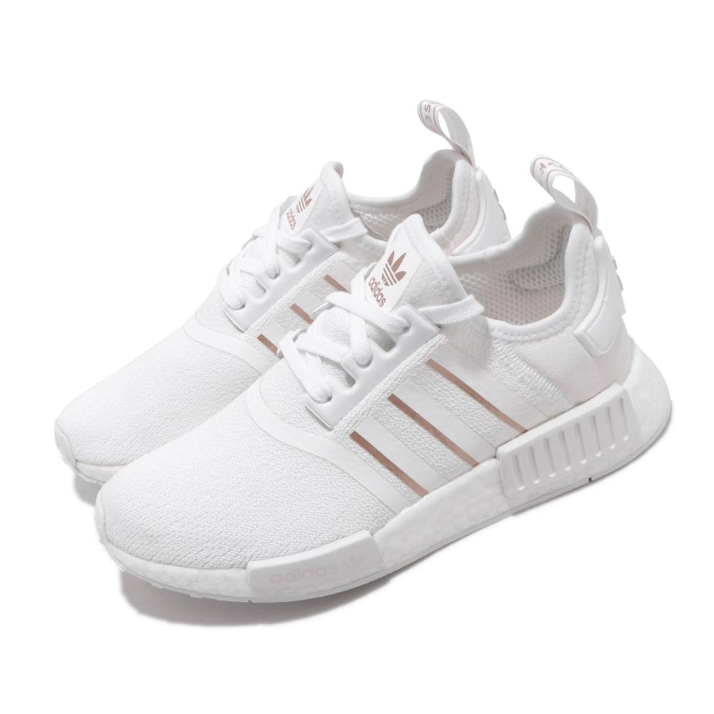 adidas 休閒鞋 NMD R1 W 襪套式 女鞋 愛迪達 三葉草 Boost底 緩震 穿搭 白 金 FW6434