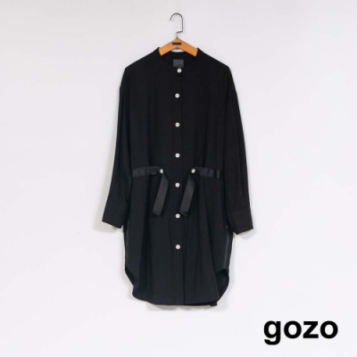 gozo 小立領壓褶造型長襯衫(二色)