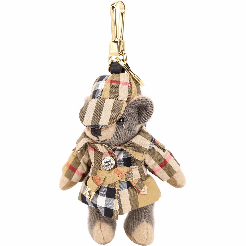 BURBERRY THOMAS Vintage 格紋風衣泰迪熊吊飾(駝色)