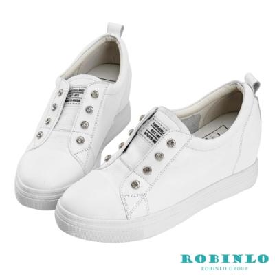 Robinlo 小心機牛皮水鑽內增高休閒鞋 白色