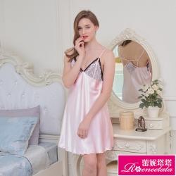 睡衣 彈力珍珠絲質 性感連身睡衣 心機美人(R96020-2粉)蕾妮塔塔