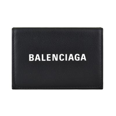 BALENCIAGA EVERYDAY白字燙印LOGO小牛皮3卡扣式三折短夾(迷你/黑)