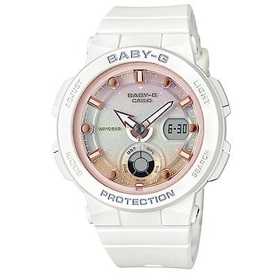 BABY-G 熱愛海洋風格船舵概念設計霓虹照明運動錶(BGA-250-7A2)粉紅面41m