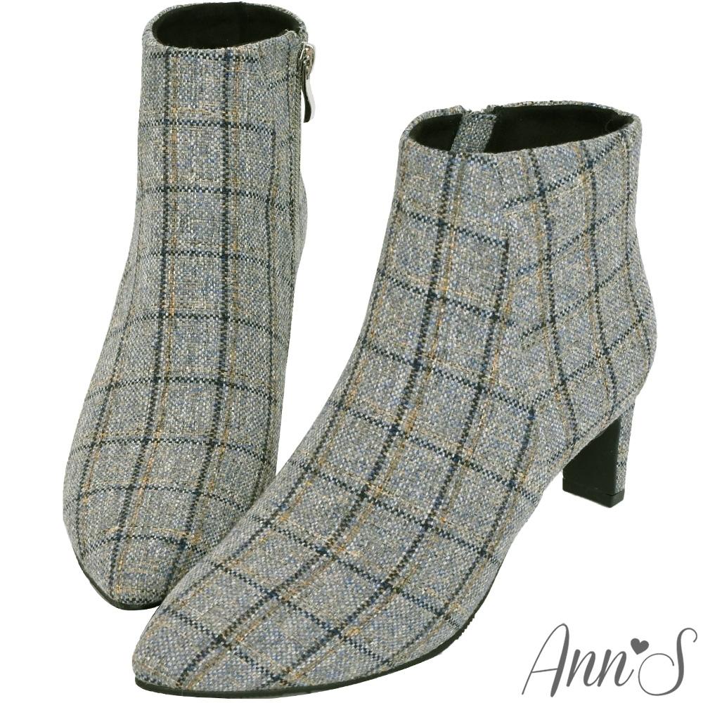 Ann'S夢幻格紋混色毛呢扁跟防水短靴-灰