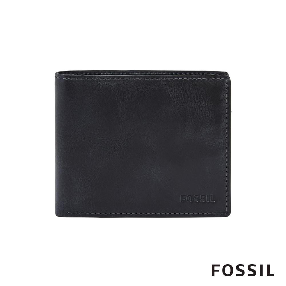 FOSSIL DERRICK 真皮證件格零錢袋RFID男夾-海軍藍