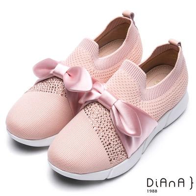 DIANA 漫步雲端厚切焦糖美人-輕量大蝴蝶結水鑽飾休閒鞋-粉