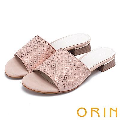 ORIN 魅力新時尚 寬版一字布面燙鑽低跟拖鞋-粉紅