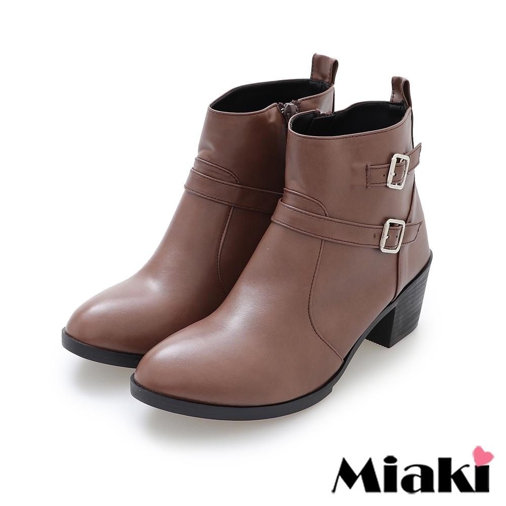 Miaki-短靴雙扣韓流拉鍊中跟踝靴-咖啡