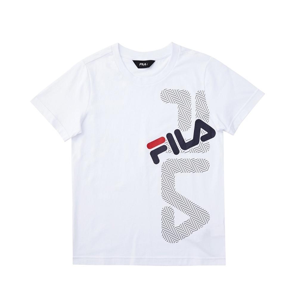 FILA KIDS 童短袖圓領上衣-白 1TEV-4900-WT