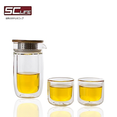 SC life 三件式玻璃泡茶旅行組