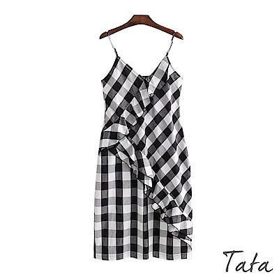 格紋荷葉邊吊帶洋裝 TATA