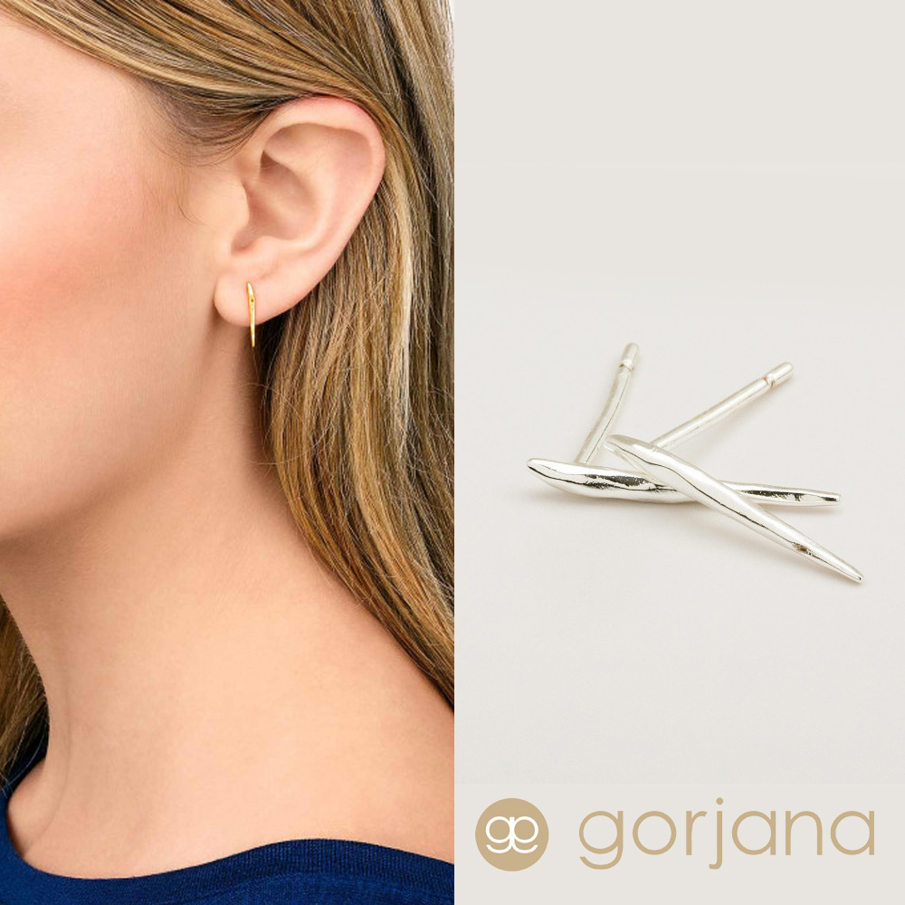 GORJANA 銀色迷你冰柱耳環 垂墜式耳環 波浪紋設計 Nora Studs
