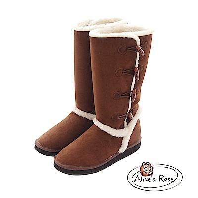 Alices Rose 牛角扣裝飾長筒雪靴-咖啡色