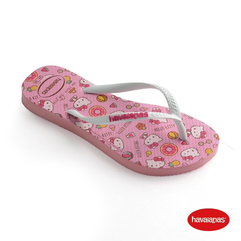 Havaianas哈瓦仕 拖鞋 夾腳拖 人字拖 巴西 童鞋 兒童 馬卡龍粉 4145748-5217K Kids Slim Hello Kitty 凱蒂貓