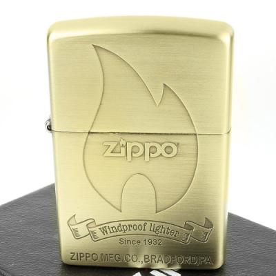 ZIPPO 日系~火焰商標圖案蝕刻加工打火機(銅古美款)