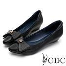 GDC-甜美可人真皮簍空素色基本楔型鞋-黑色