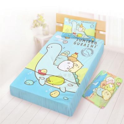 享夢城堡 單人床包枕套3.5x6.2二件組-角落小夥伴 恐龍世紀-藍