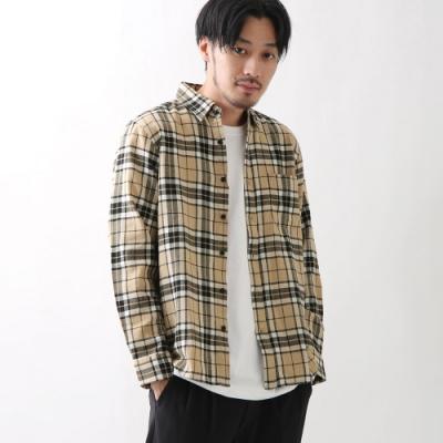法蘭絨襯衫格紋長袖襯衫(10色) -ZIP日本男裝