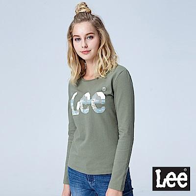 Lee 鑲珠LOGO長袖圓領TEE-灰綠