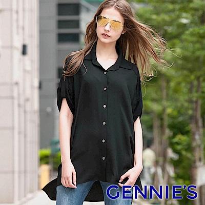 Gennies專櫃-簡約率性襯衫式前短後長上衣(黑)C3801