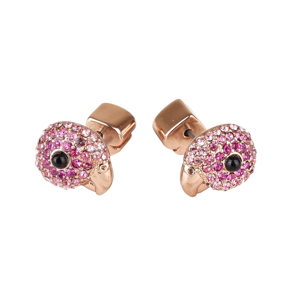 kate spade Tropical paradise鸚鵡設計鑽鑲飾穿式耳環(玫瑰金x粉