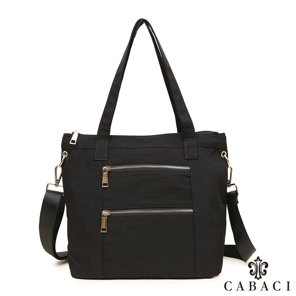 CABACI 簡約輕量尼龍材質肩背斜背兩用包-黑色