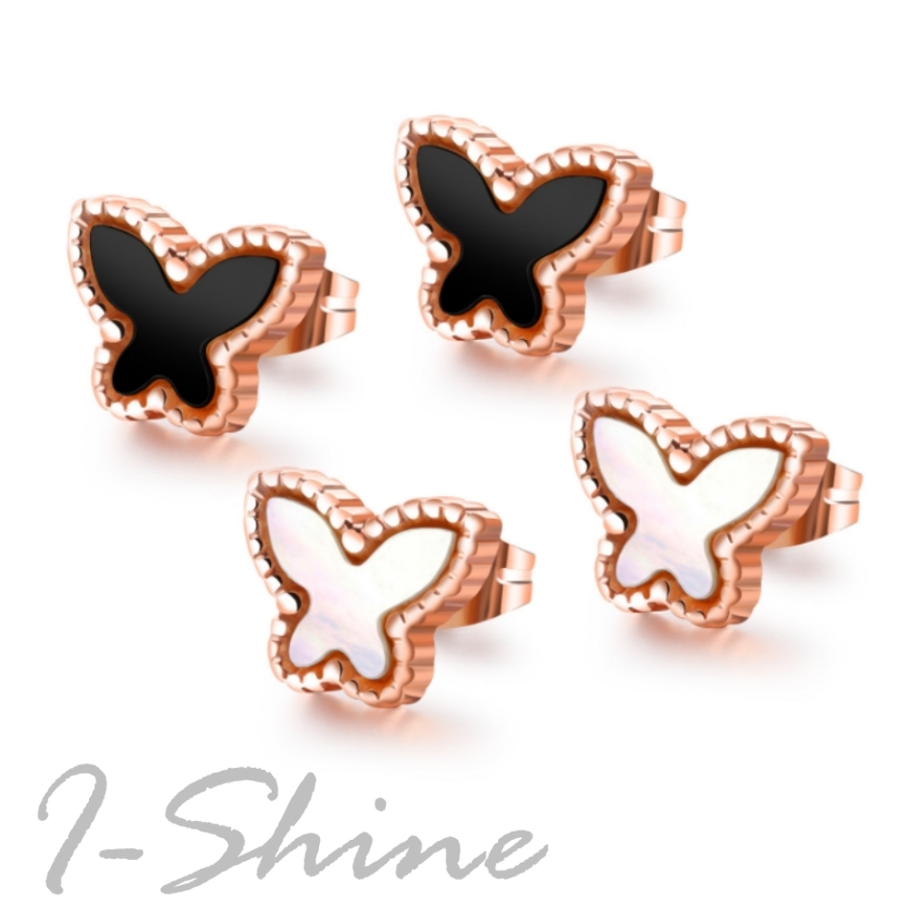 I-Shine-西德鋼-小飛蝶-可愛蝴蝶造型玫瑰金鈦鋼耳針耳環DA30